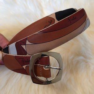 EMILIO PUCCI Leather Belt Size 90